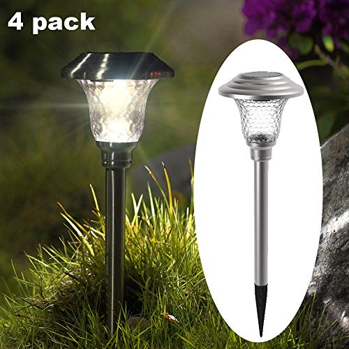 MAGGIFT 6 Lumens Solar Pathway Lights Outdoor Solar Garden Lights Stainless Steel Solar Landscape Inground Lights for Lawn, Patio, Yard, Walkway, Driveway(4 Pack)