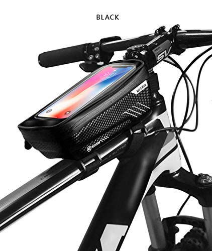 Elikliv Bike Frame Bag with up to 6.5 Mobile Phone Holder, Bicycle Top Tube Pouch, Rainproof Waterproof Cycle Cell Phone…