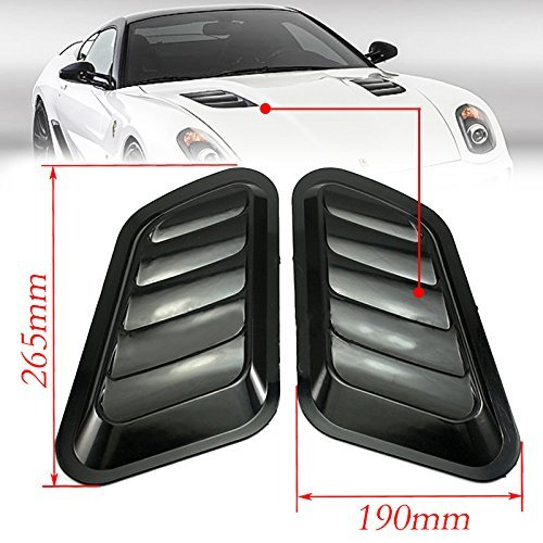 CHAMPLED 2pcs Universal ABS Car Decor Hood Scoop Smoke Black Air Flow Intake Vent Cover Gum for Acura Nissan Mitsubishi Subaru Mazda