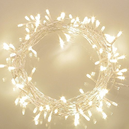 36ft 100 LED Battery Operated String Lights with Timer on 11M Outdoor Clear String Lights(8 Modes, IP65 Waterproof, Dimmable, Warm White) Clear String Lights