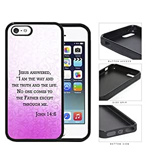 John 14:6 Religious Bible Verse PINK gradient Floral Overlay [iPhone 5 5s] Rubber Silicone TPU Cell Phone Case