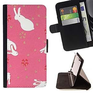 - Cute Easter Bunny Animal Pink - Estilo PU billetera de cuero del soporte del tir???¡¯????n [solapa de cierre] Cubierta- For Apple Iphone 6 £¨ Devil Case £©
