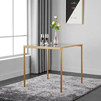 Amazoncom Mainstays Tempered Glass And Metal Small Dining Table