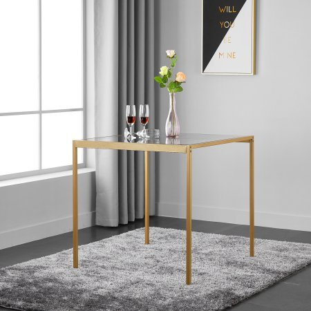 mainstays tempered glass and metal small dining table - gold