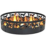 Sunnydaze Running Horse Fire Pit Campfire Ring, Large Outdoor Heavy Duty Metal Wood Burning Firepit, 36 Inch For Sale