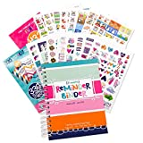 """2019-2020 Planner Calendar & Variety Sticker Set - Weekly & Monthly Horizontal Layout, 6.5""""x8.5"""", Twin-Wire Binding, Hard Cover, Elastic Closure, Checklists, Pockets & Tab Dividers by Reminder Binder"""