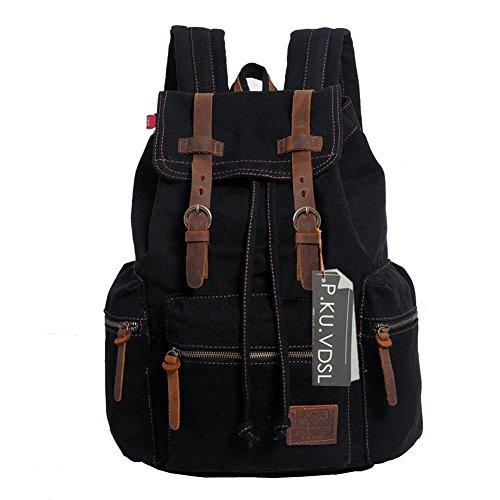 Vintage Canvas Laptop Backpack School College Rucksack Bag (Black) - 5