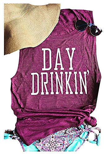 Drinks Well with Others Muscle Tank Tops Womens Funny Drinking Alcohol Sleeveless Letter Printed Graphic Tee Shirt Tops Size S (Lose Red) -