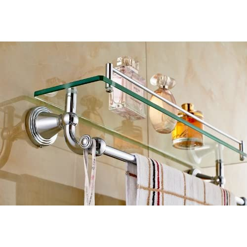 durable modeling Rozinsanitary Chrome Polished Bathroom Glass Shelf Wall Mount Cosmetic Holder with Towel Bar