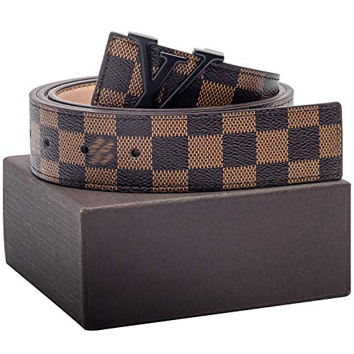 (Gold/Silver/Black Buckle Men or Women Leather Unisex Fashion Belt Pants Jeans Shorts ~ 3.8cm Belt Width)