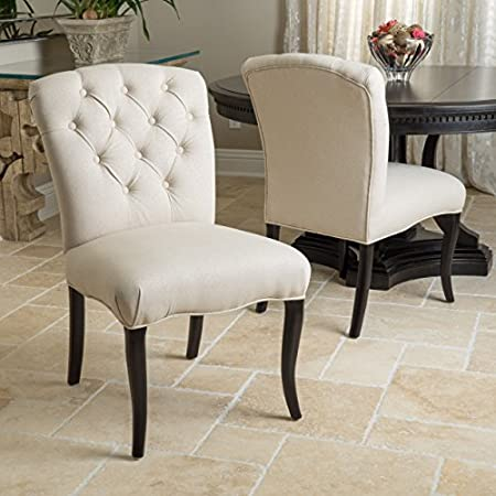 Set of 2 Linen Fabric Dining Chairs Scroll High Back Grey Beige Upholstery Seats