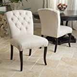 Christopher Knight Home 295416 Hallie Dining Chair (Set of 2), Linen with Scroll Pattern For Sale