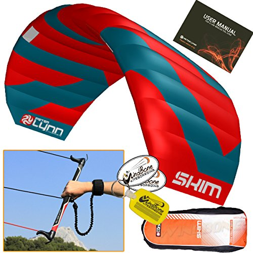 Peter Lynn Skim 4.0M 3-Line Water Relaunchable Trainer Kite Control Bar Bundle + WindBone Key Chain + Stickers - Kitesurfing Kiteboarding Power Foil Traction Kiting