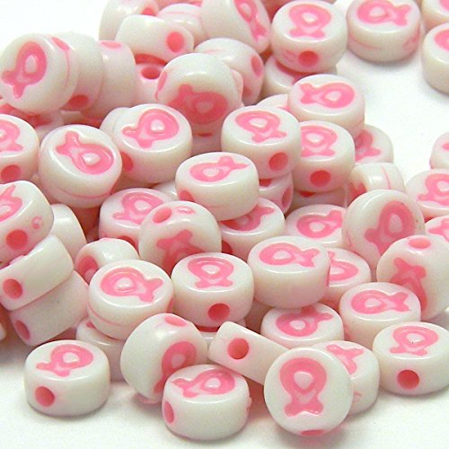 100 Plastic Acrylic Pink Ribbon Breast Cancer Awareness 8mm Round Coin Beads