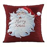 Clearance!Super Soft Fabric Square Christmas Santa Claus Throw Cushion Cover,Sofa Waist Home Decor Pillow Case (N)