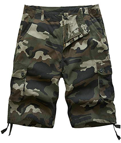 Pinkpum Men's Overalls Shorts Camouflage Button Pocket Overalls Casual Tooling Shorts Army Green US42=44 ()