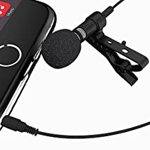 Lavalier Lapel Microphone Clip-on Omnidirectional Condenser Mic for Apple iPhone, iPad, iPod Touch, Samsung Android and Windows Smartphones Film Interviews Vocal Video Recording