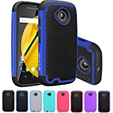 Moto E (2nd Gen) Case, LK [Shock-Absorption] Hybrid Dual Layer Armor Defender Protective Case Cover for Motorola Moto E (2nd Generation) (Blue)