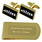 Evolution Ape to Man Wizzard Gold-tone Cufflinks Money Clip Engraved Gift Set