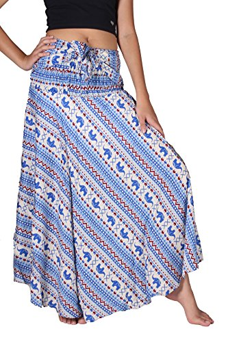 Bangkokpants Women's Long Bohemian Hippie Skirt Small Elephant Blue US Size 0-14