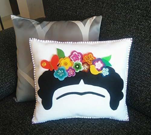How To Make A Doll Decorative Pillow : Amazon.com: Decor Cushion Frida Kahlo, flower crown, Decorative pillow, Mexican felt doll, Hand ...