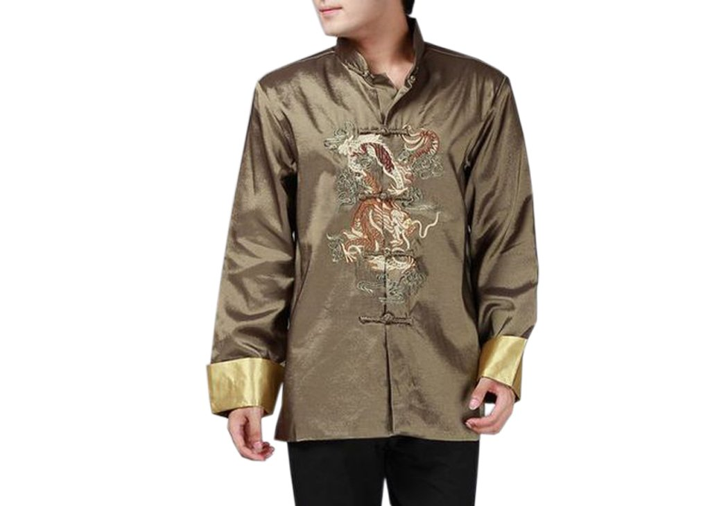 XueXian(TM) Mens Long Sleeve Chinese Dragon Autumn Tang Jacket Kung Fu Clothes (China L: Bust 44.09'', green)