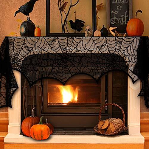 Cheap  VIVREAL Halloween Mantel Scarf - Halloween Party Decoration Black Lace Fireplace Mantel..