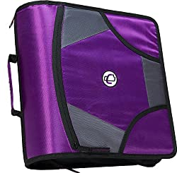 Case-it King Sized Zip Tab 4-inch D-ring Zipper Binder With 5-tab File Folder, Purple, D-186-pur