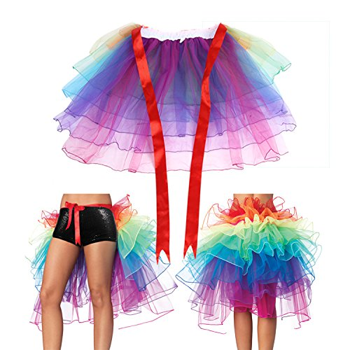 Rainbow Tutu,Girl's Rainbow Color Tutu Bustle Skirt Layered Tutu Organza Long Tail -