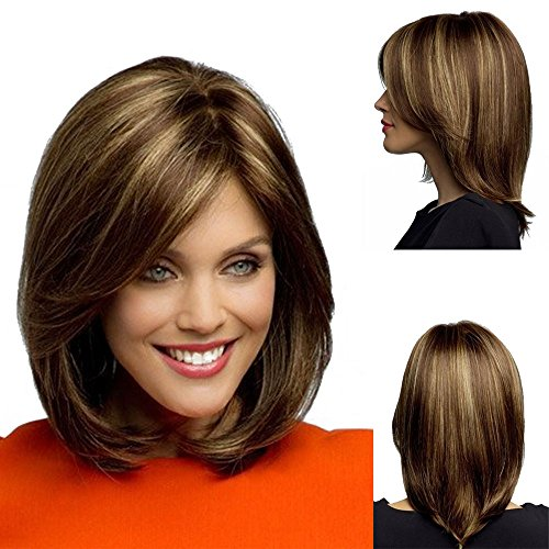 Micropromo Women's Short Heat Resistant Mix Brown Syntheic Straight Hair Wig for Ladies -