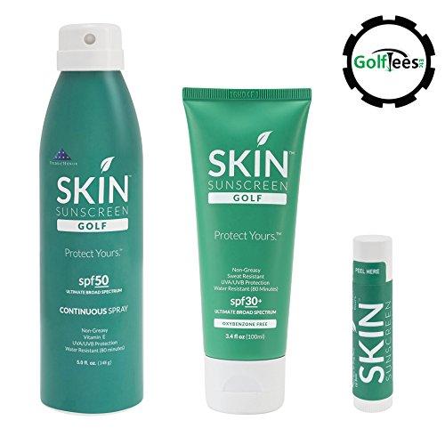Sun Protection Bundle - 5oz SPF 50+ Spray, 3.4oz SPF 30+ Tube & SPF 30+ Lip Balm + Free Poker Chip Golf Ball Marker (Intense Spf 30 Sunscreen)