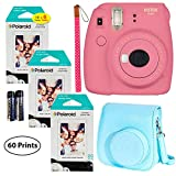 Fujifilm Instax Mini 9 Instant Camera (Flamingo Pink), 3X Twin Pack Instant Film (60 Sheets), and Instax Groovy Case Bundle