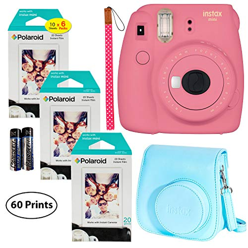 - Fujifilm Instax Mini 9 Instant Camera (Flamingo Pink), 3X Twin Pack Instant Film (60 Sheets), and Instax Groovy Case Bundle