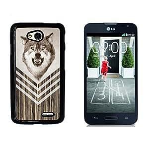 Moon Wolf Wood Hard Plastic and Aluminum Back Case for LG Optimus L70