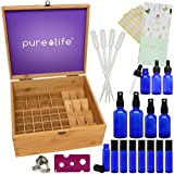 Essential Oil Storage Box and Complete Blending Kit - includes Roll-on, Spray and Dropper Bottles and Tools, High Capacity for 50 Bottles, Made From Sustainable Quality Bamboo