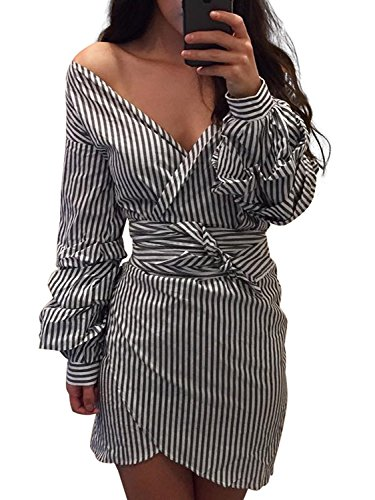 Mini Strappy Sandals (Simplee Apparel Women's Summer Party Sexy Off Shoulder Striped Mini Dress Grey)