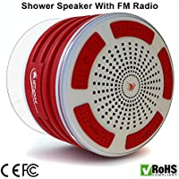 iFox iF013 Bluetooth Shower Speaker - Certified Waterproof. Wireless Speakerphone Pairs To All Bluetooth Devices - iPhone, iPad, iPod, PC. FM Radio - Red and White