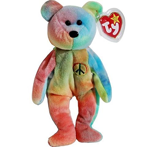 Peace the Neon Ty-Dyed Teddy Bear - MWMT Ty Beanie Babies [Holiday Gifts] - Retired Beanie Babies