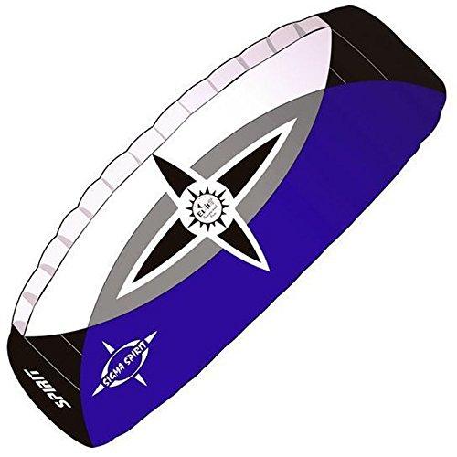 elliot 1010650 Elliot Sigma Spirit 2.5 Zweileiner-Lenkdrachen (Lenkmatte), rtf, inkl. Controlbar, 240 x 90 cm, Bft. 2-7, schwarz/weiß/blau