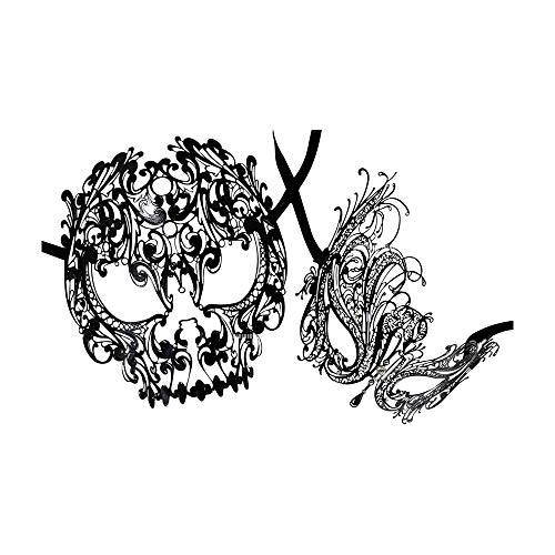 Yacanna His and Her Masquerade Masks Skull and Swan Masquerade Masks Set (Skull + Swan) Black