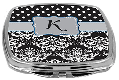 Rikki Knight Initial K Damask Dots Design Compact Mirror, Grey/Blue/Black, 17 Ounce