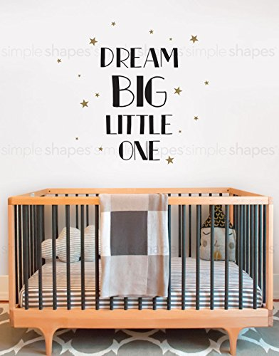 Dream Big Little One Quote Lettering Wall Decal- by Simple Shapes by Simple Shapes