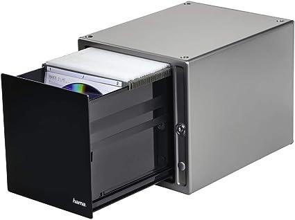 Hama Boite De Rangement Magic Touch Pour 80 Cd Dvd Blu Ray Dossiers Suspendus Avec Pochettes Touch Release Integre Argent Noir Amazon Fr High Tech