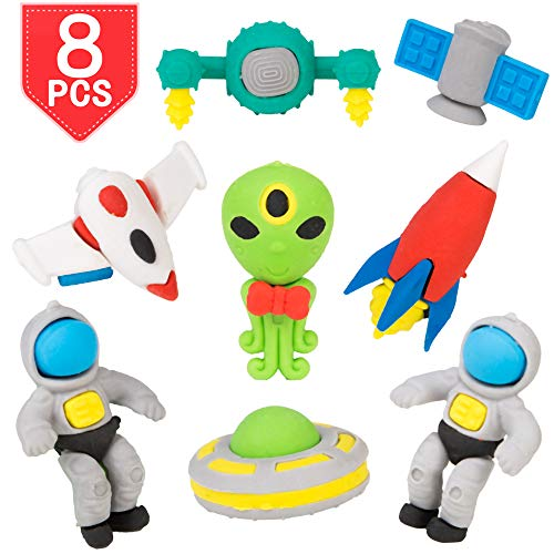 PROLOSO Pencil Erasers Outer Space Cartoon Toy Eraser Space Party Favors (Eraser Ufo)
