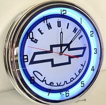 Genuine Chevy 15 Neon Light Clock Sign Parts Garage Bowtie Emblem