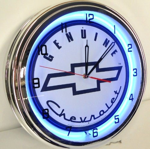 Genuine Chevy 15'' Neon Light Clock Sign Parts Garage Bowtie Emblem Logo SS White/Blue by Chevrolet