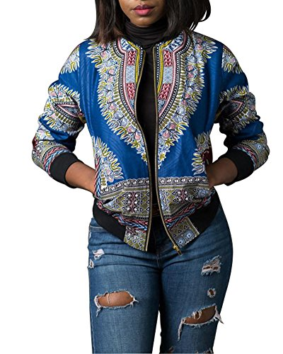 Playworld Women's Long Sleeve Floral Print Hip-Hop Bomber Jacket Coat,Blue,Medium by Playworld