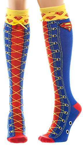 DC Comics Superman Faux Lace Up Knee High Boot Socks with Cuff ()