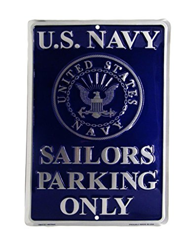 "U.S. Navy Naval Emblem Sailors Parking Only 8""x12"" Metal Plate Parking Sign"