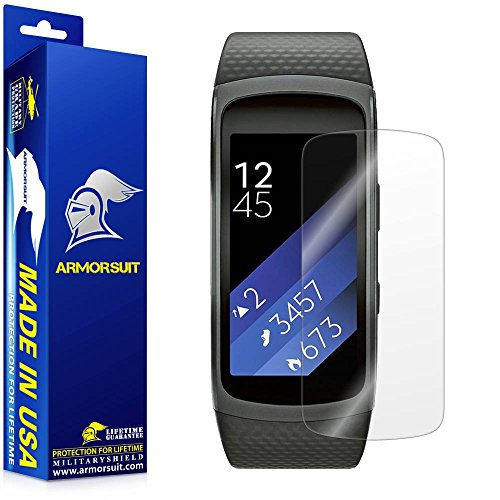 ArmorSuit Samsung Gear Fit 2/Fit 2 Screen Protector (2 Pack) Full Coverage MilitaryShield Screen Protector for Gear Fit 2/Fit 2 -HD Clear Anti-Bubble